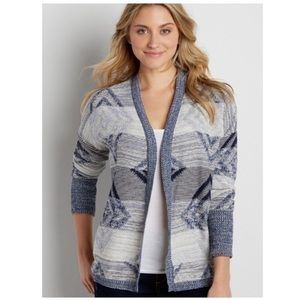 Maurices Blue White Open Cardigan Size M